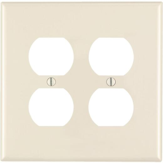 Leviton Mid-Way 2-Gang Thermoplastic Nylon Outlet Wall Plate, Light Almond