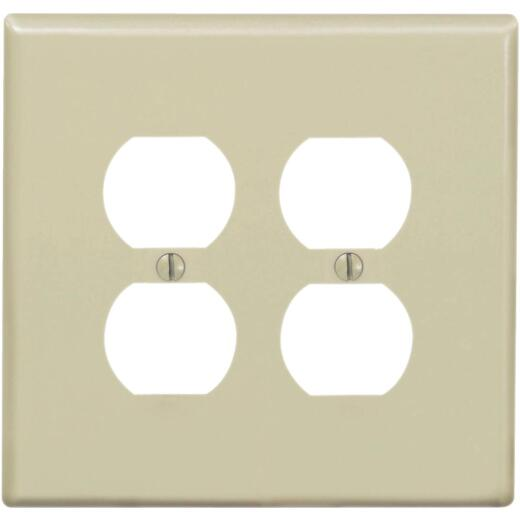 Leviton Mid-Way 2-Gang Thermoplastic Nylon Outlet Wall Plate, Ivory