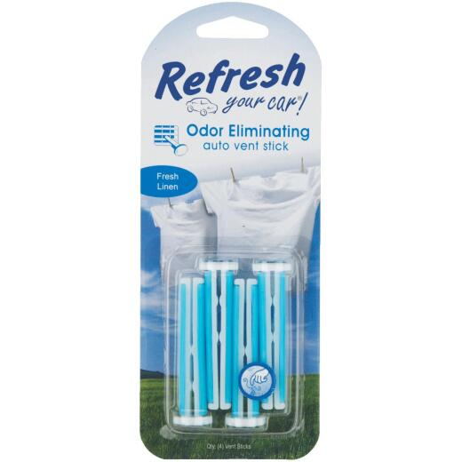 Refresh Your Car Vent Stick Car Air Freshener, Fresh Linen (4-Pack)