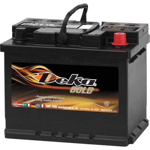 Deka Gold 12-Volt 650 CCA Automotive Battery, Top Post Right Front Positive Terminal