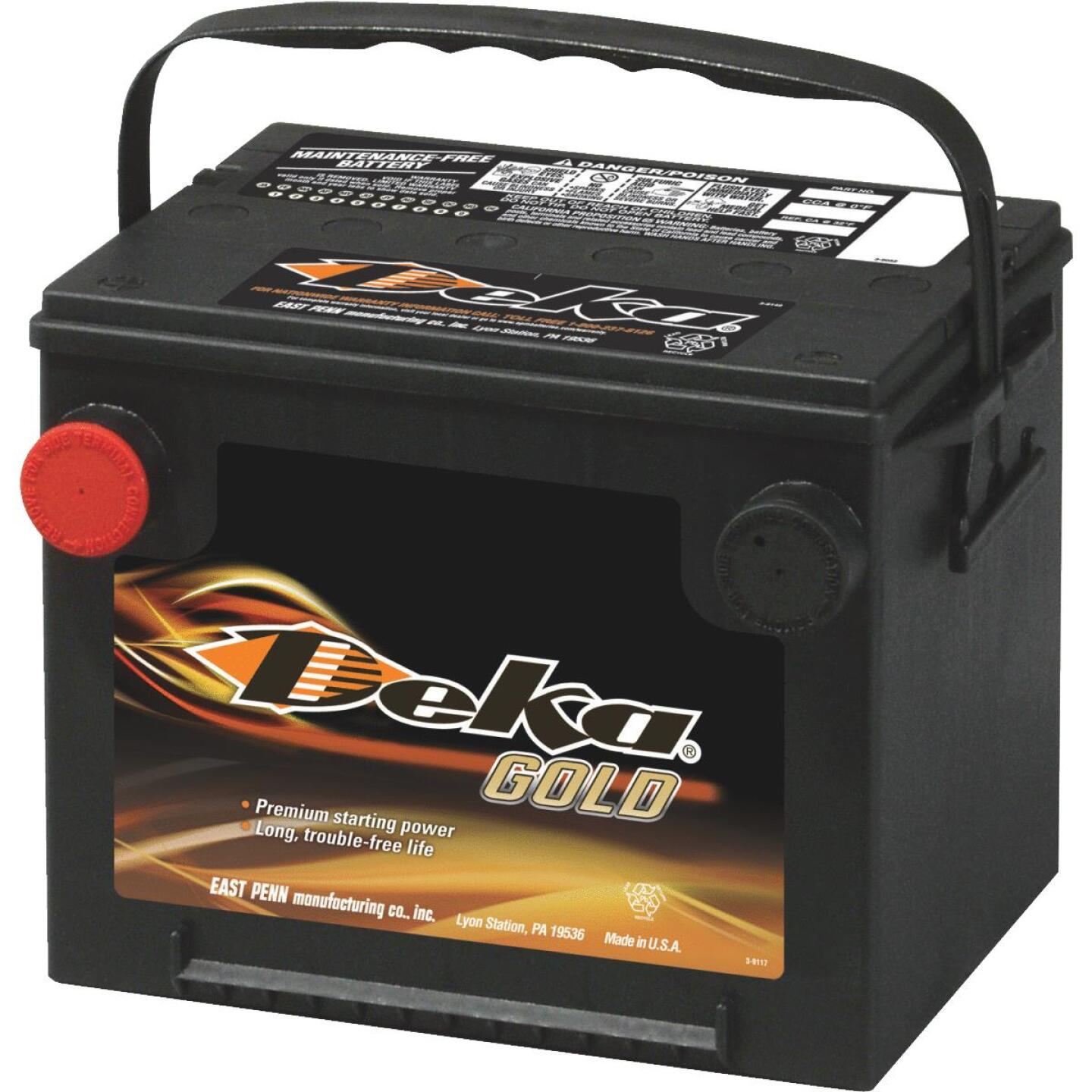 Deka Gold 12-Volt 650 CCA Automotive Battery, Side Post Left Front Positive Terminal Image 1