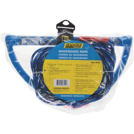 Seachoice 65 Ft. L 3-Section Wakeboard Ski Rope w/15 In. Handle