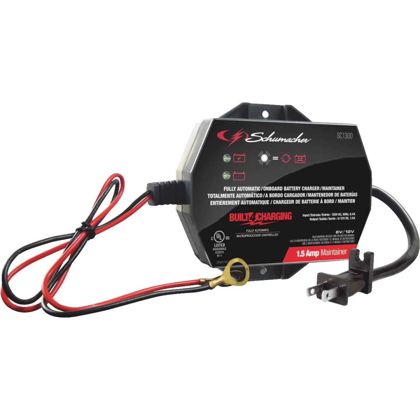 Schumacher Automatic 12V 1.5A Auto Battery Charger/Maintainer Image 1