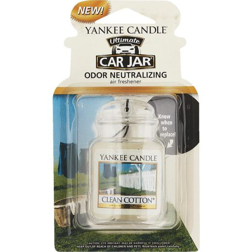 Yankee Candle Car Jar Ultimate Car Air Freshener, Clean Cotton