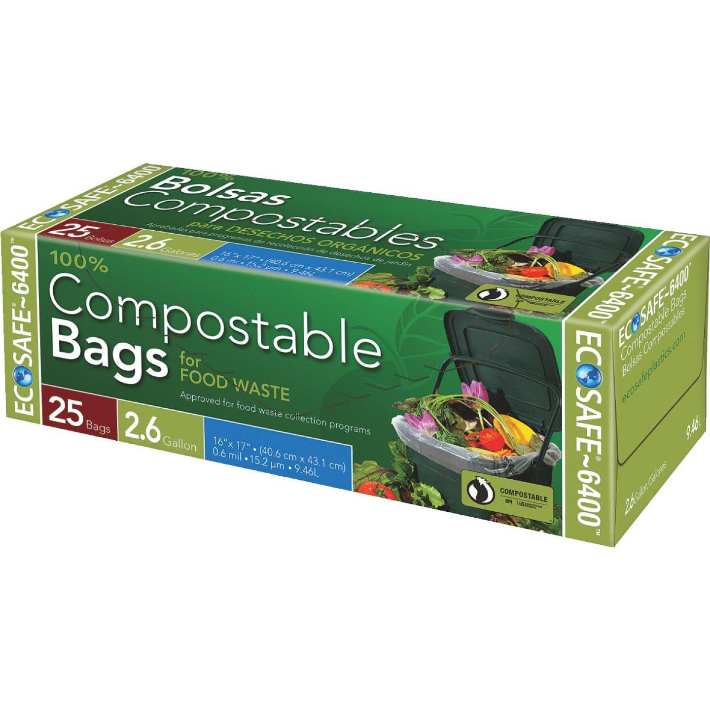 EcoSafe-6400 2.6 Gal. Compostable Green Trash Bag (25-Count) Image 1