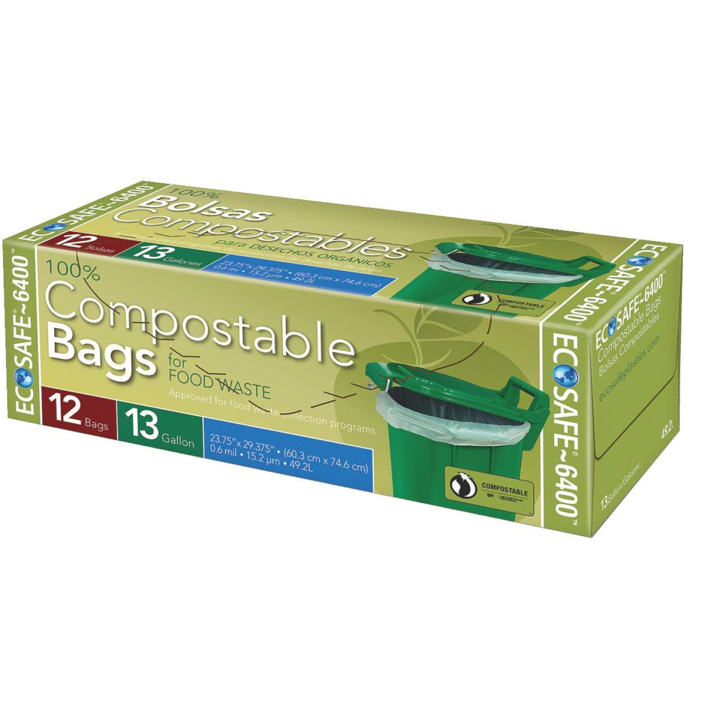 EcoSafe-6400 13 Gal. Compostable Green Trash Bag (12-Count) Image 1