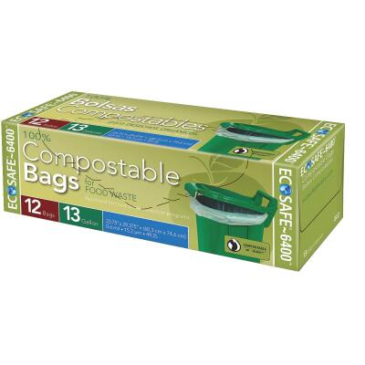 EcoSafe-6400 13 Gal. Compostable Green Trash Bag (12-Count)