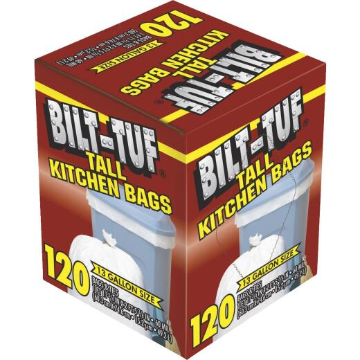 Bilt-Tuf 13 Gal. Tall Kitchen White Trash Bag (120-Count)