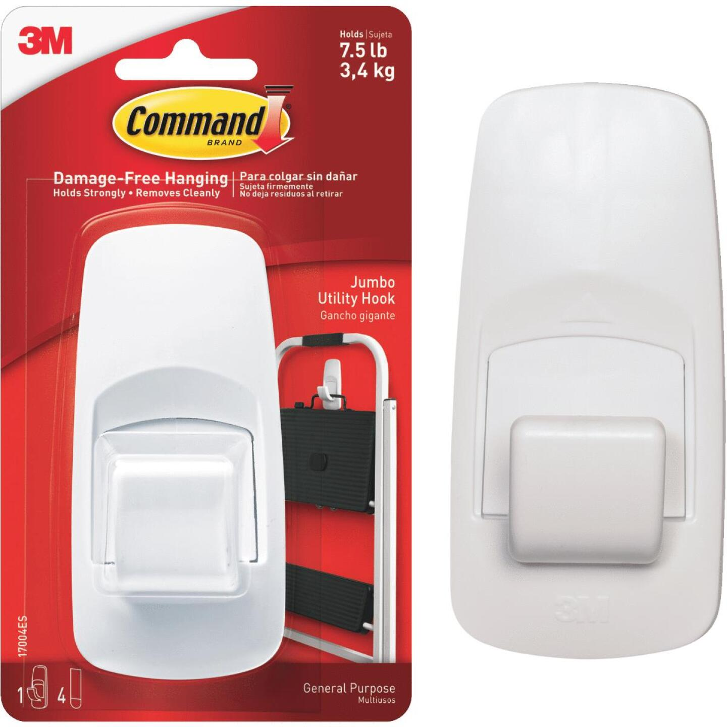 Command 2 In. x 4-1/4 In. Jumbo Adhesive Hook Image 1