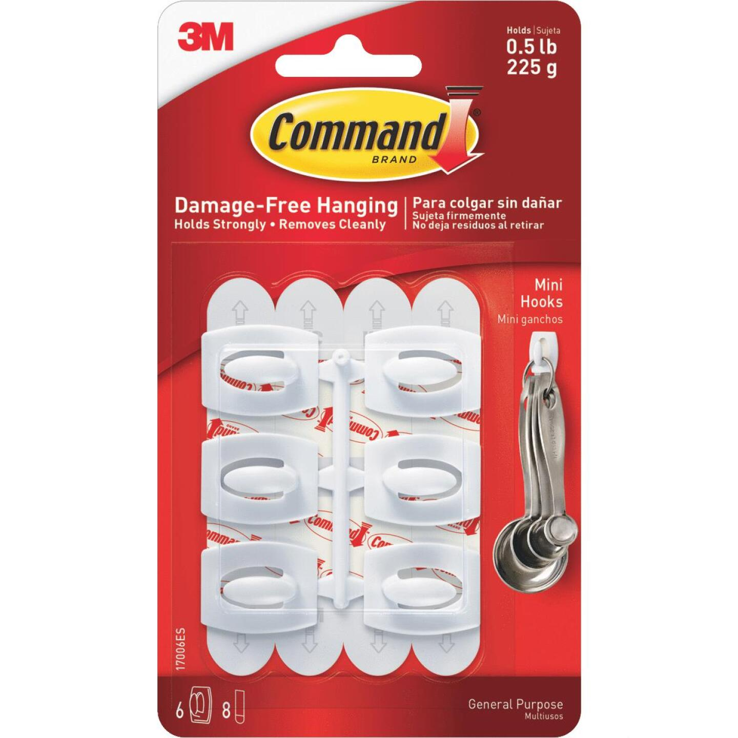 Command Mini Adhesive Hook (6 Pack) Image 3