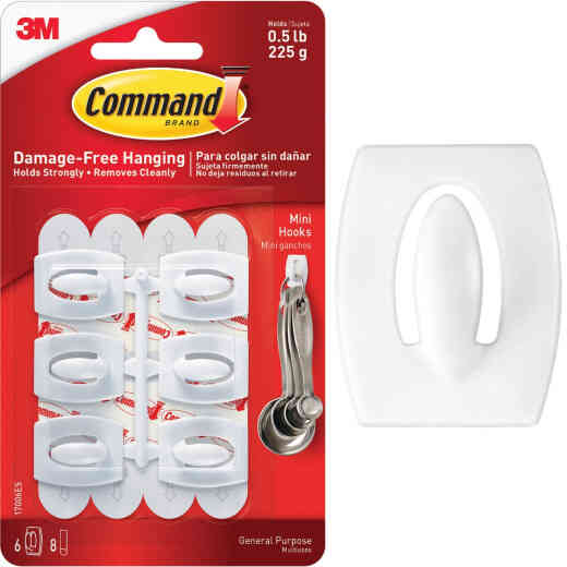 3M Command White Mini Adhesive Hook (6-Pack)