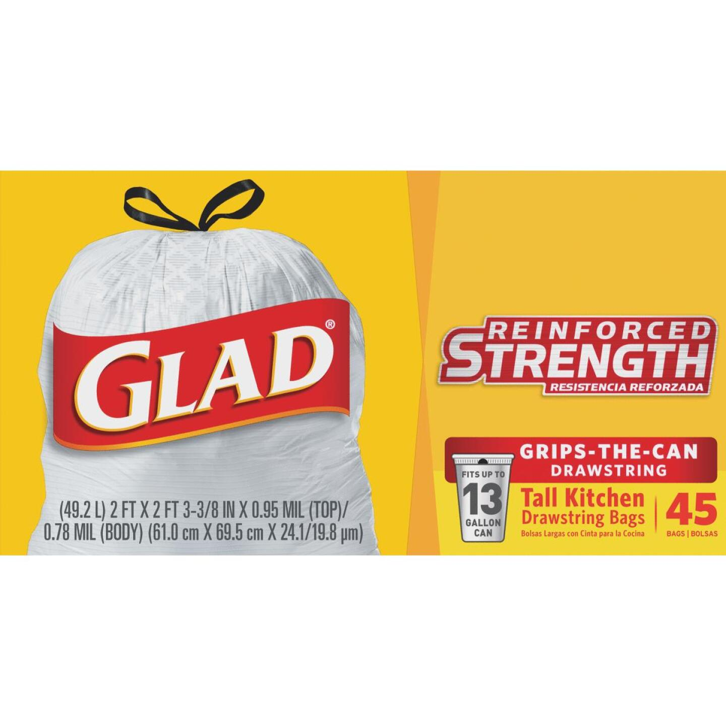 Glad 13 Gal. Tall Kitchen White Reinforced Strength Trash Bag (45-Count) Image 1