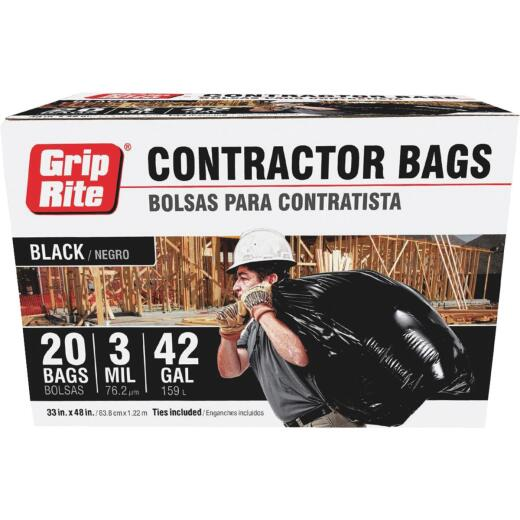 Grip-Rite 42 Gal. Contractor Black Trash Bag (20-Count)