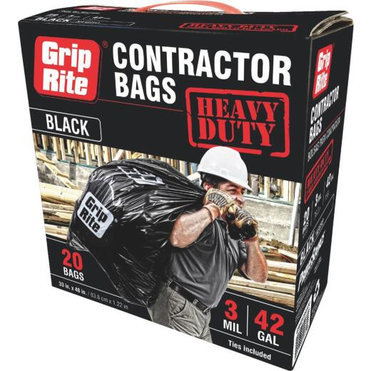 Grip-Rite 42 Gal. Heavy-Duty Contractor Black Trash Bag (20-Count)
