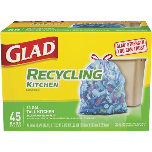 Glad Recycling 13 Gal. Tall Kitchen Blue Trash Bag (45-Count)