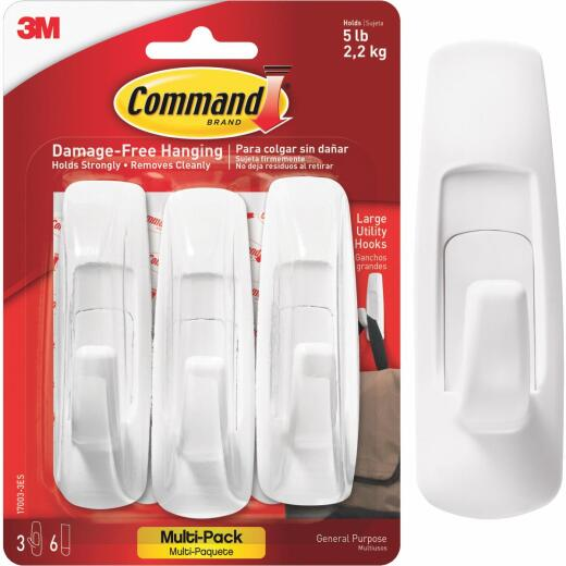 Command 1-1/4 In. x 3-7/8 In. Utility Adhesive Hook (3 Pack)
