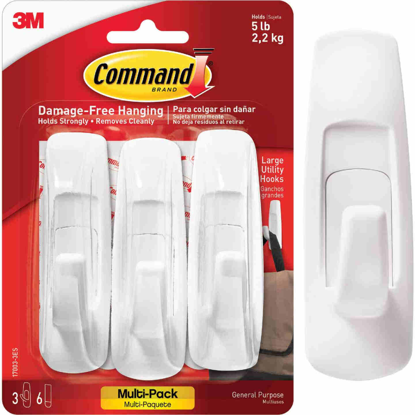 3M Command Large Utility Adhesive Hook (3-Pack) Image 1