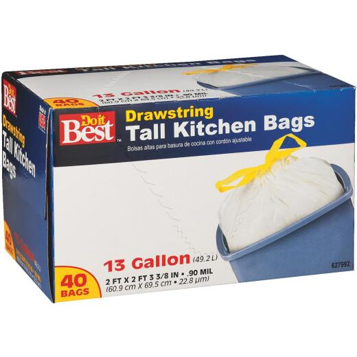 Do it Best 13 Gal. Tall Kitchen White Trash Bag (40-Count)