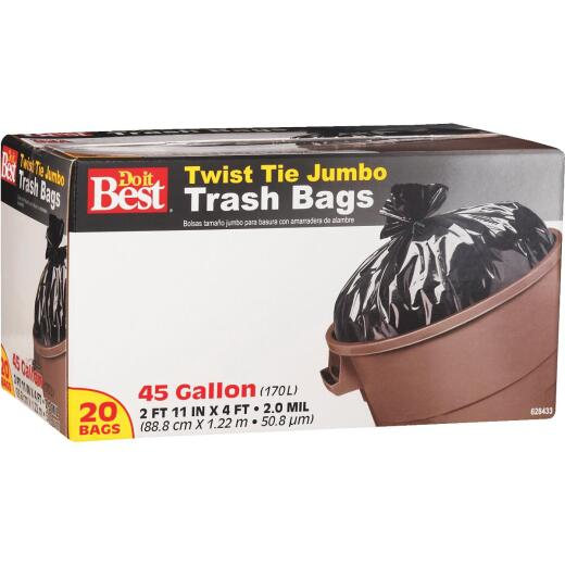 Do it Best 45 Gal. Jumbo Black Trash Bag (20-Count)