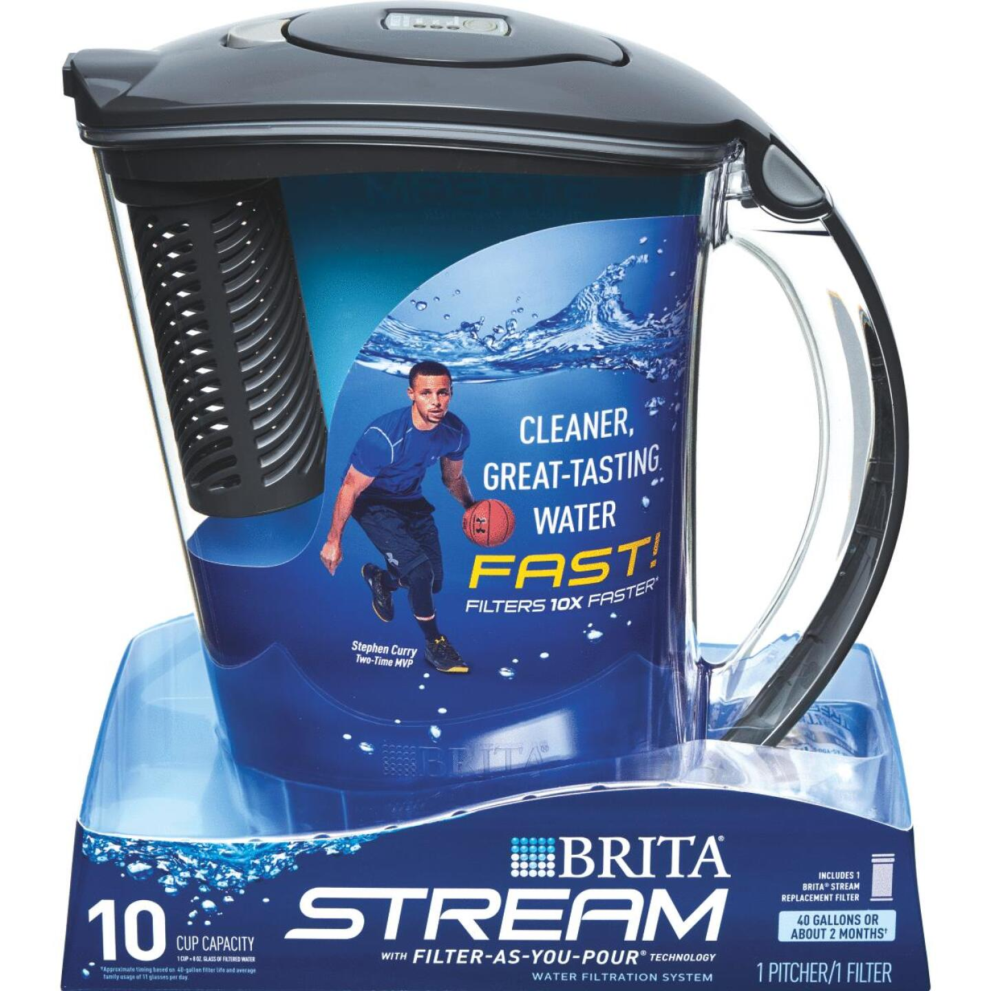 Brita Stream Rapids 10-Cup Gray Filter-As-You-Pour Pitcher Image 1