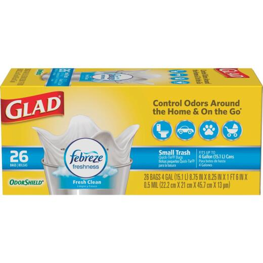 Glad 4 Gal. White Febreze Fresh OdorShield Small Trash Bag