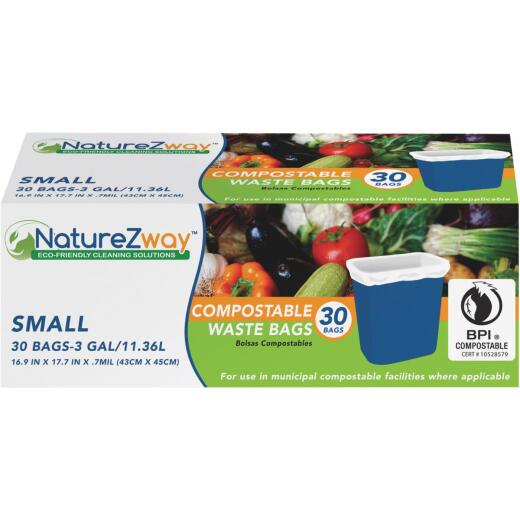 NatureZway 3 Gal. Small Compostable Trash Bag (30-Count)