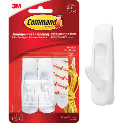 3M Command Medium Utility Adhesive Hook (2-Pack)