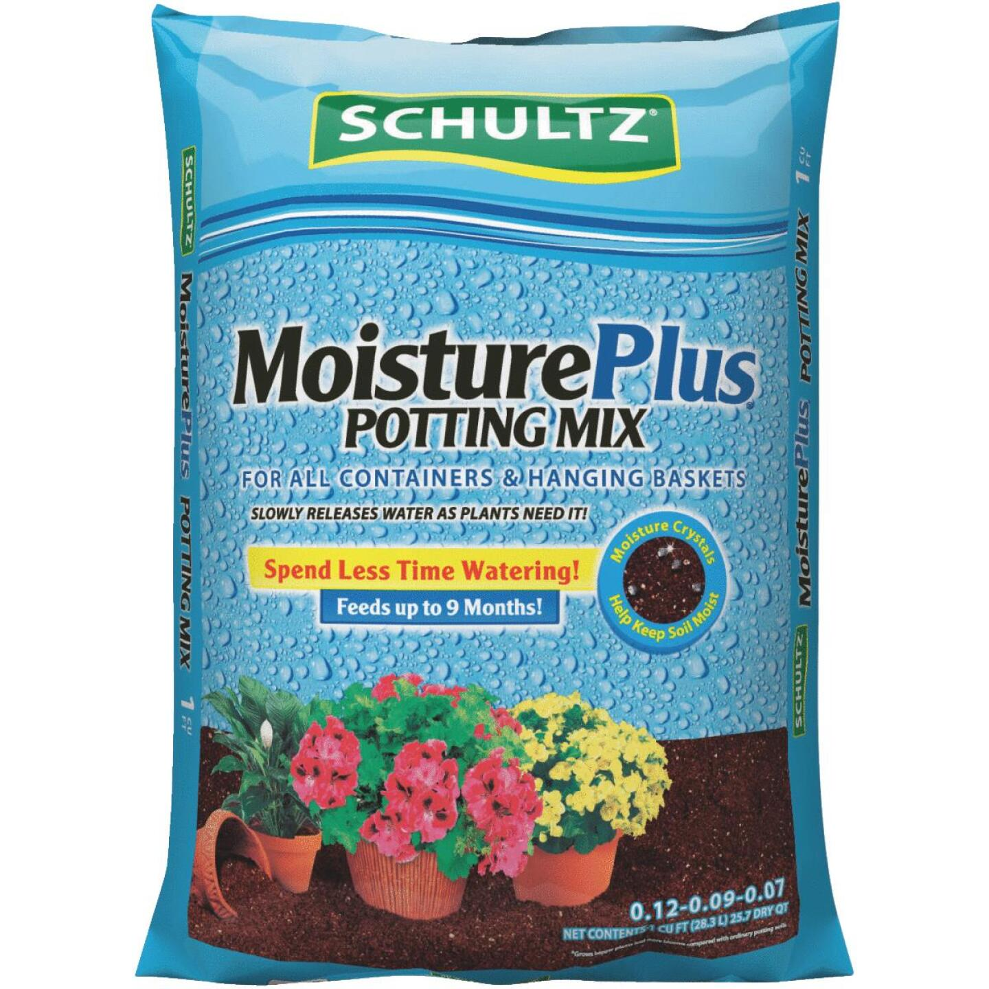 Schultz MoisturePlus 1 Cu. Ft. All Purpose Containers & Hanging Baskets Potting Soil Mix Image 1