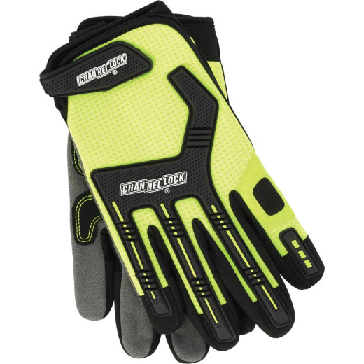 Channellock Men's Medium Synthetic Leather Heavy-Duty Mechanics Glove, Hi-Visibility Yellow