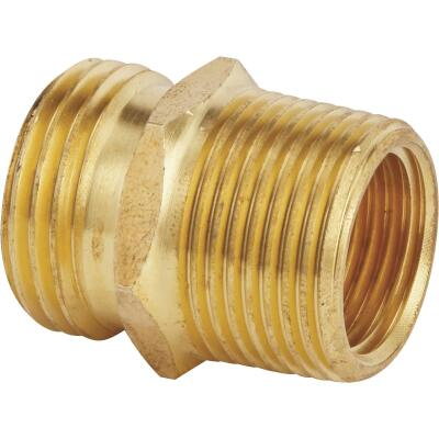 Best Garden 3/4 In. MNH x 3/4 In MNPT x 1/2 In. FNPT Brass Non-Swivel Hose Connector
