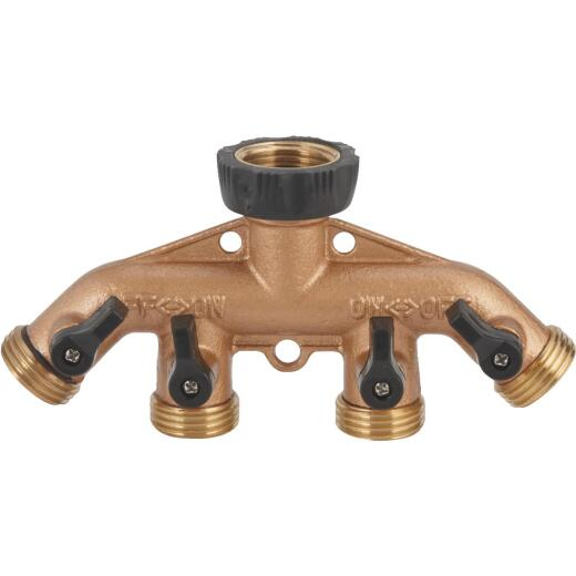 Best Garden Brass 4-Way Hose Shutoff Manifold