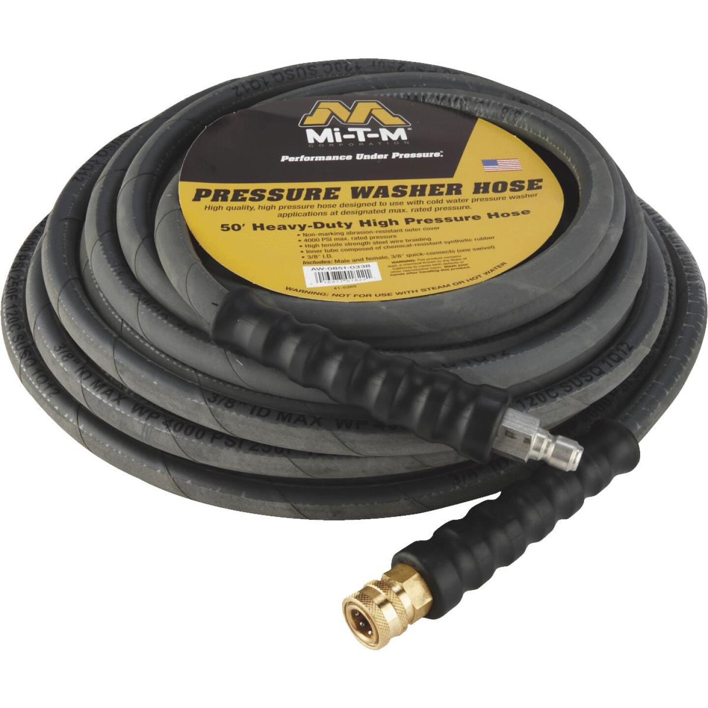 Mi-T-M 3/8 In. x 50 Ft. 4000 psi Heavy Duty Pressure Washer Hose Image 3