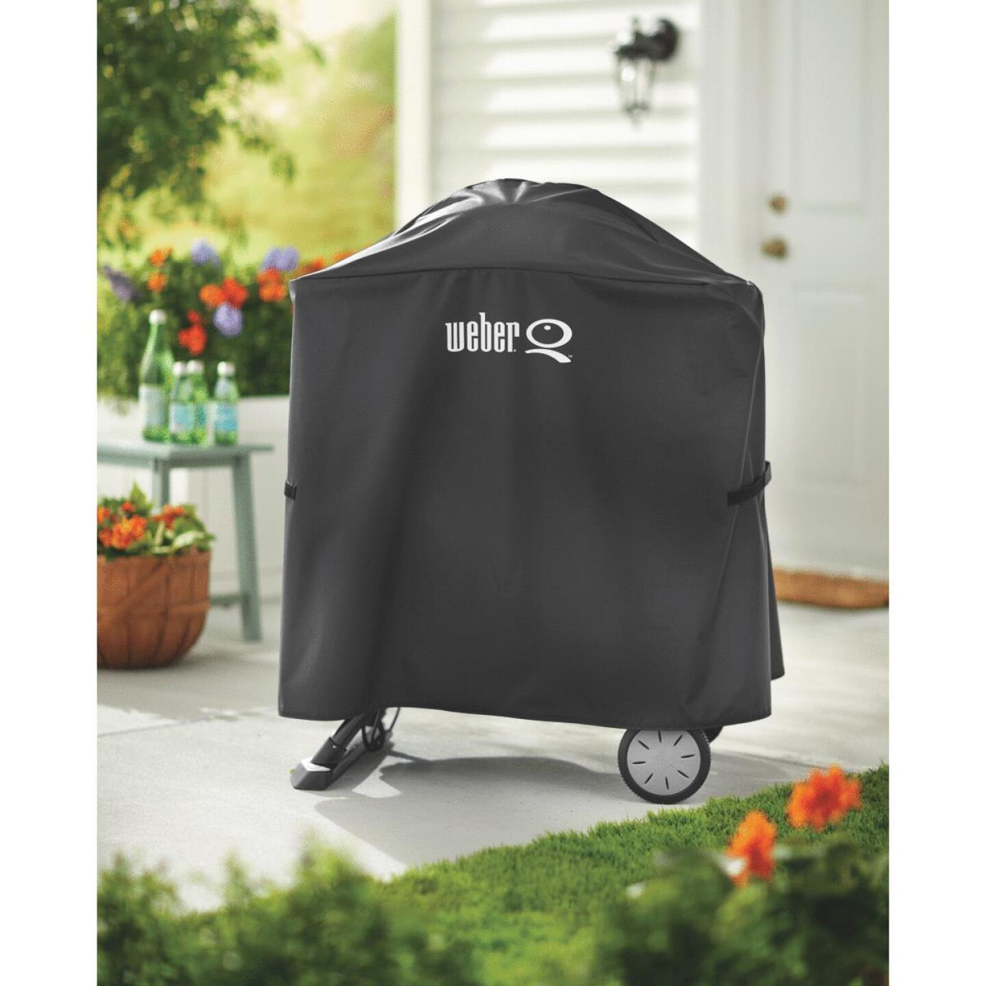 Weber Q 100/1000 & Q 200/2000 Q Cart 32 In. Black Vinyl Grill Cover Image 3