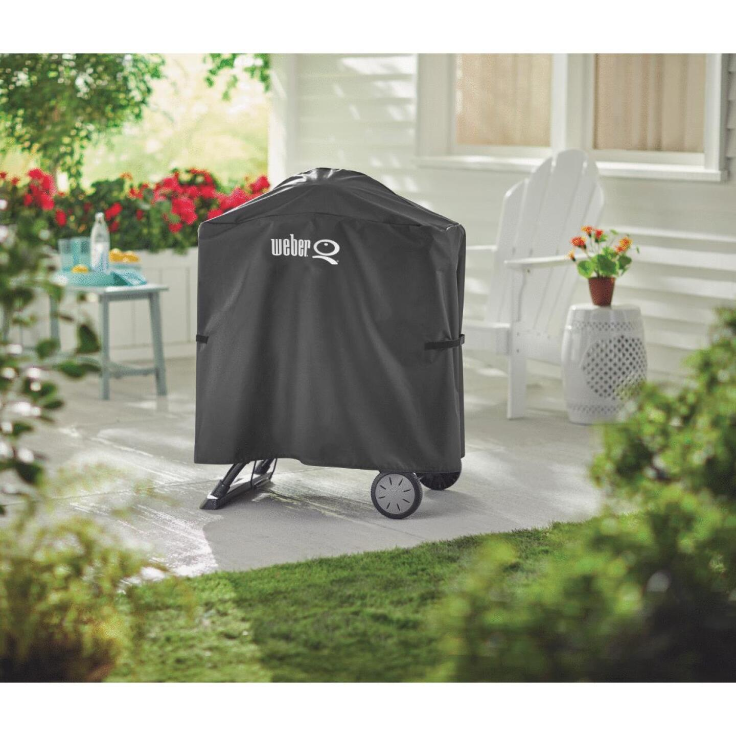 Weber Q 100/1000 & Q 200/2000 Q Cart 32 In. Black Vinyl Grill Cover Image 4