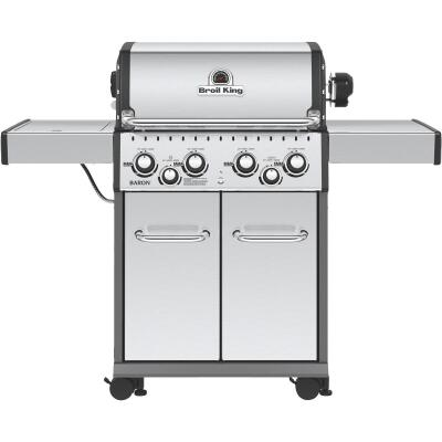 Broil King Baron S490 4-Burner Stainless Steel 40,000-BTU LP Gas Grill with 10,000-BTU Side Burner