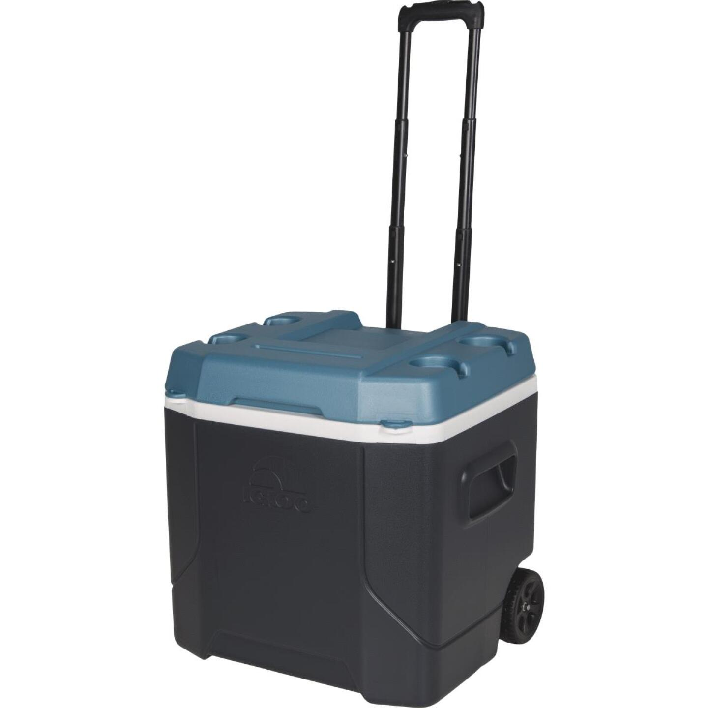 Igloo MaxCold Profile 54 Qt. 2-Wheeled Cooler, Jet Carbon & Ice Blue Image 1
