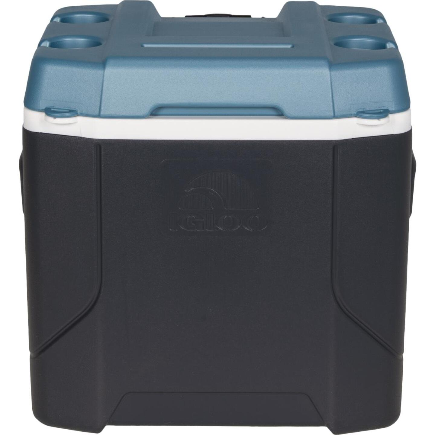 Igloo MaxCold Profile 54 Qt. 2-Wheeled Cooler, Jet Carbon & Ice Blue Image 2