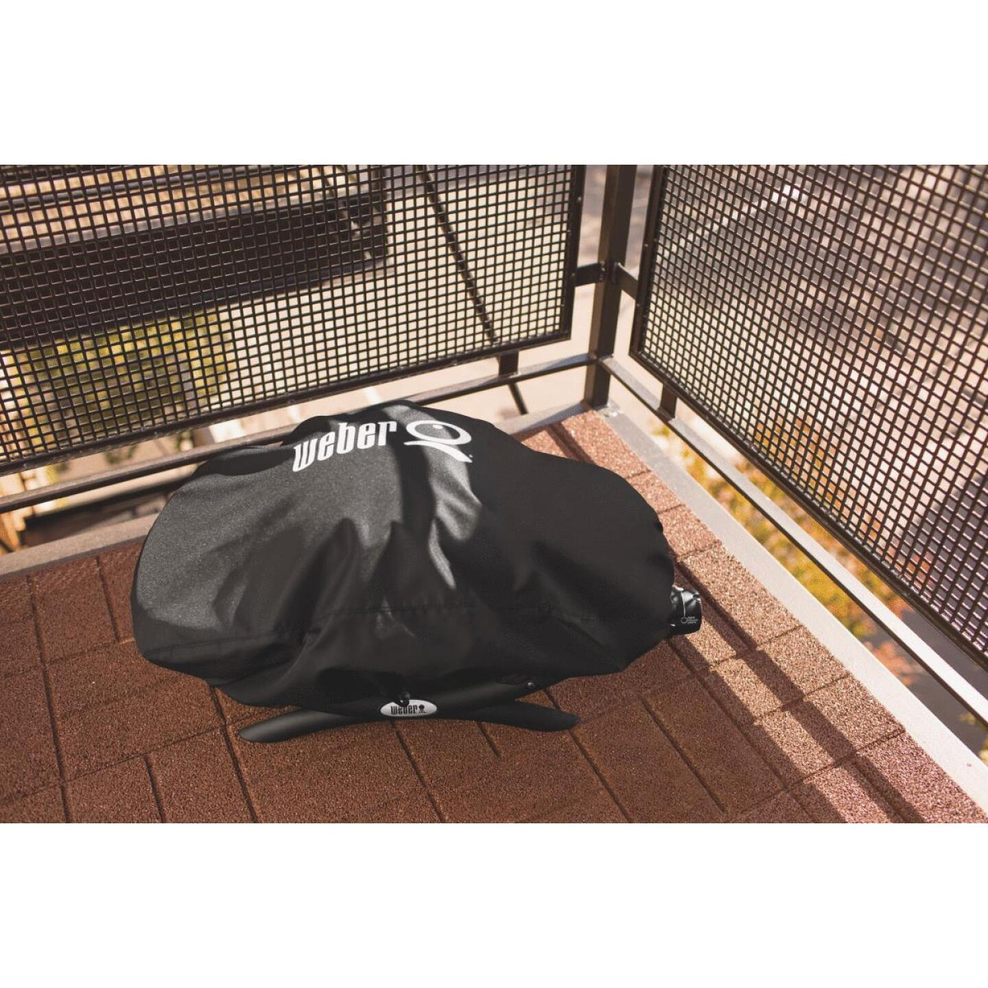 Weber Q 100/1000 27 In. Black Vinyl Grill Cover Image 2