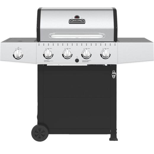 GrillPro 4-Burner Stainless Steel & Black 40,000 BTU LP Gas Grill