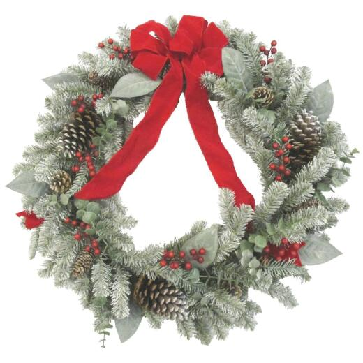 Sterling 30 In. Snowy Pine Artificial Wreath