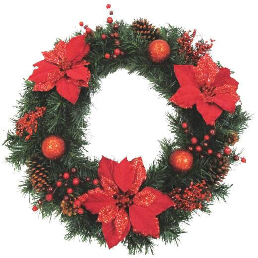 Sterling 30 In. Pine, Poinsettia, & Berries Artificial Wreath