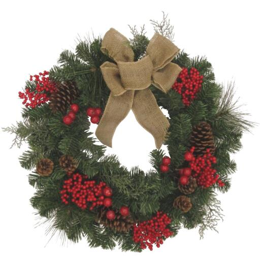 Gerson 24 In. Pine Artificial Wreath with Burlap Bow