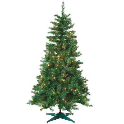 Sterling 4 Ft. Colorado Spruce 150-Bulb Multi Incandescent Prelit Artificial Christmas Tree