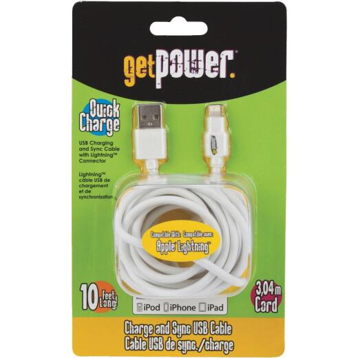 Aries 10 Ft. White Lightning USB Charging & Sync Cable