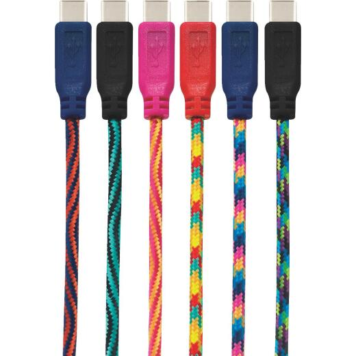 GetPower 7 Ft. Multi-Color Braided USB-C Charging & Sync Cable